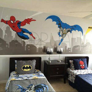 Image Is Loading Batman And Spiderman Super Hero Themed Room Avengers