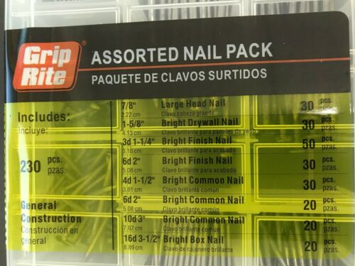 230-Piece Grip-Rite Assorted General Construction Nail Pack Kit