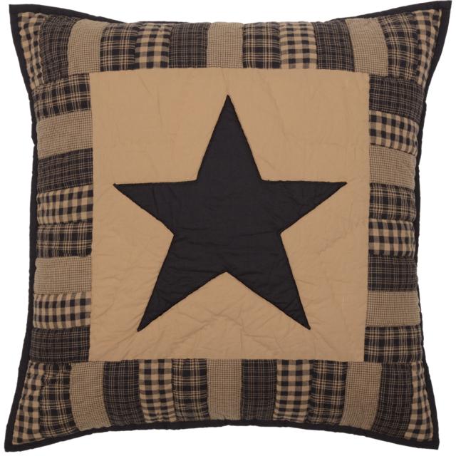 Black Check Star Primitive Patchwork Country Bedding Cotton Pillow Sham