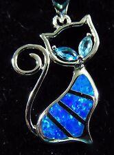 Silver 925 Filled Pendant & Chain Blue Lab Fire Opal & Aquamarine Eyes TABBY CAT