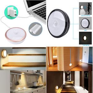rechargeable 6led wireless pir motion sensor lamp usb wall night lights indoor ebay. Black Bedroom Furniture Sets. Home Design Ideas