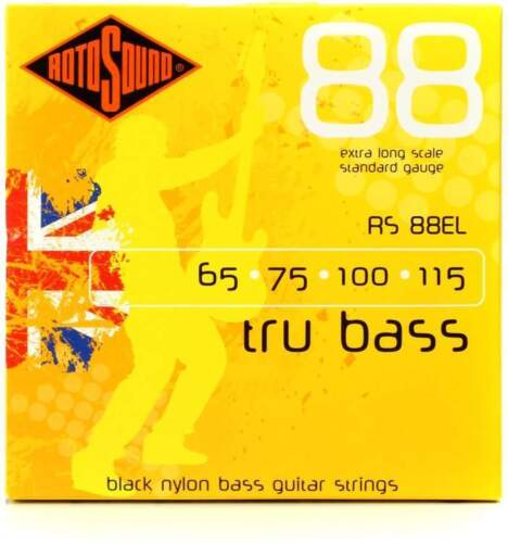 Rotosound RS88EL Tru Bass 88 Black Nylon Flatwound Bass Guitar Strings Extra L
