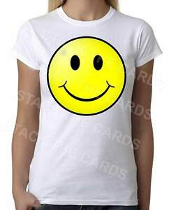 Smiling-Happy-Face-Womens-White-T-Shirt-Geek-Retro-Fun-Kitsch-Cute