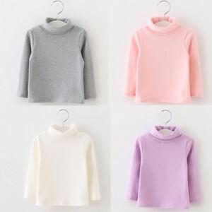 5b539f89 Toddler Kids Baby Girl Long Sleeve High Collar Warm Tops T-Shirt ...