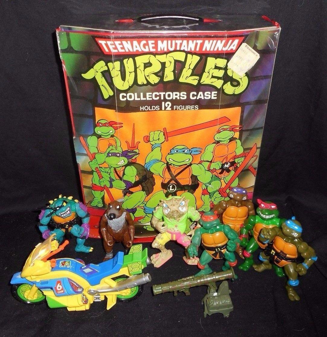 Vintage - menge teenage mutant ninja turtles tmnt zahlen & transportbox motorrad