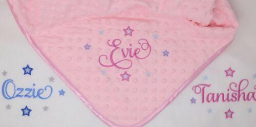 Personnalisé de luxe rose fourrure//alvéolée//polaire Baby Blanket Script police