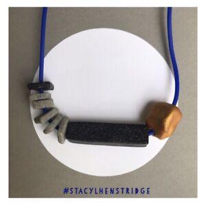 Handmade Chunky Polymer Clay Bead Necklace Asymmetric Blue Gold stacylhenstridge