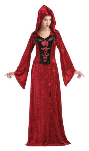 Donna Gotico Maiden Rosso Con Cappuccio Abito Costume Costume Taglia Unica
