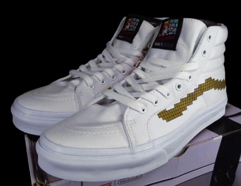 e91270c2f5 VANS X Nintendo Women Sz 5 Sk8 Hi Slim Classic White Coin Shoes ...