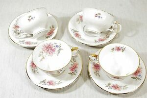 Royal-Coburg-4-Sets-Cups-and-Saucers-18669-Montclair-Pink-Floral-EXC
