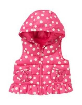 GYMBOREE GLAMOUR BALLERINA PINK DOT HOODED PUFFER VEST 12 24 2T 3T NWT