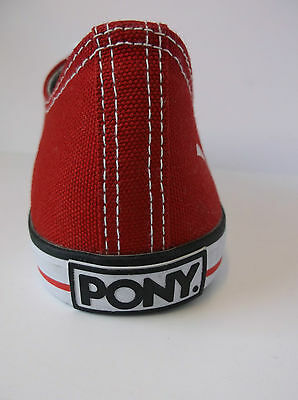 Damas Rojo PONY Encaje Zapatos De Lona Agudo