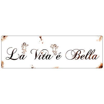 Shabby METALLSCHILD Blechschild Dekoschild LA VITA E BELLA Italien Geschenk
