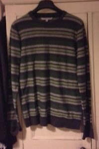 NWOT-Fat-Face-green-grey-striped-wool-jumper-top-mens-casual-size-small