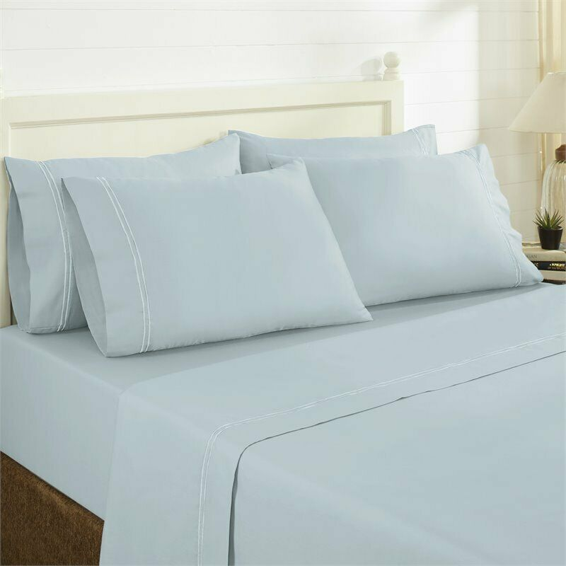 T1000 COTTON RICH 6 PC SHEET SET DOUBLE MARROW HEM STERLING blueE QUEEN