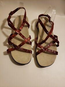 Intaglia-Women-039-s-Open-Toe-Sandals-Red-Strappy-Savannah-Size-11WW-Summer