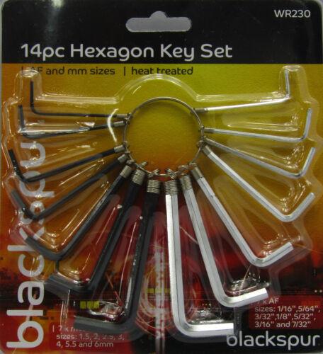 14PC métrique impérial hex hexagonal allen alan clé clé set clé hexagonale