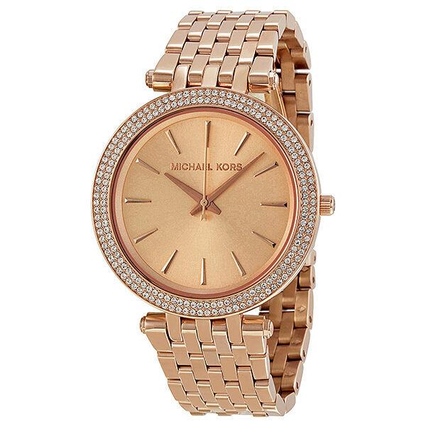 Michael Kors Parker Glitz Rose Gold Dial Pave Bezel Ladies Watch MK3192