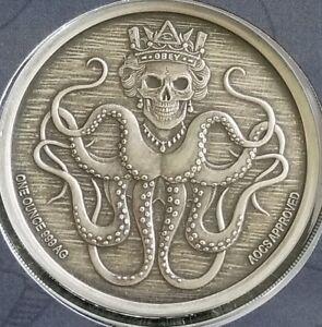 1 oz Original SBSS Kraken Queen Slave Limited 500 Antiqued  w// COA Art Slab .999