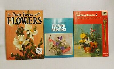 3 Vintage Flower Painting Books Lot-claude Parsons, Golden Press & Craftint