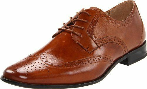 Stacy Adams Mens Nolan Cognac Leather Oxford WingTip Style Laceup Dress shoes