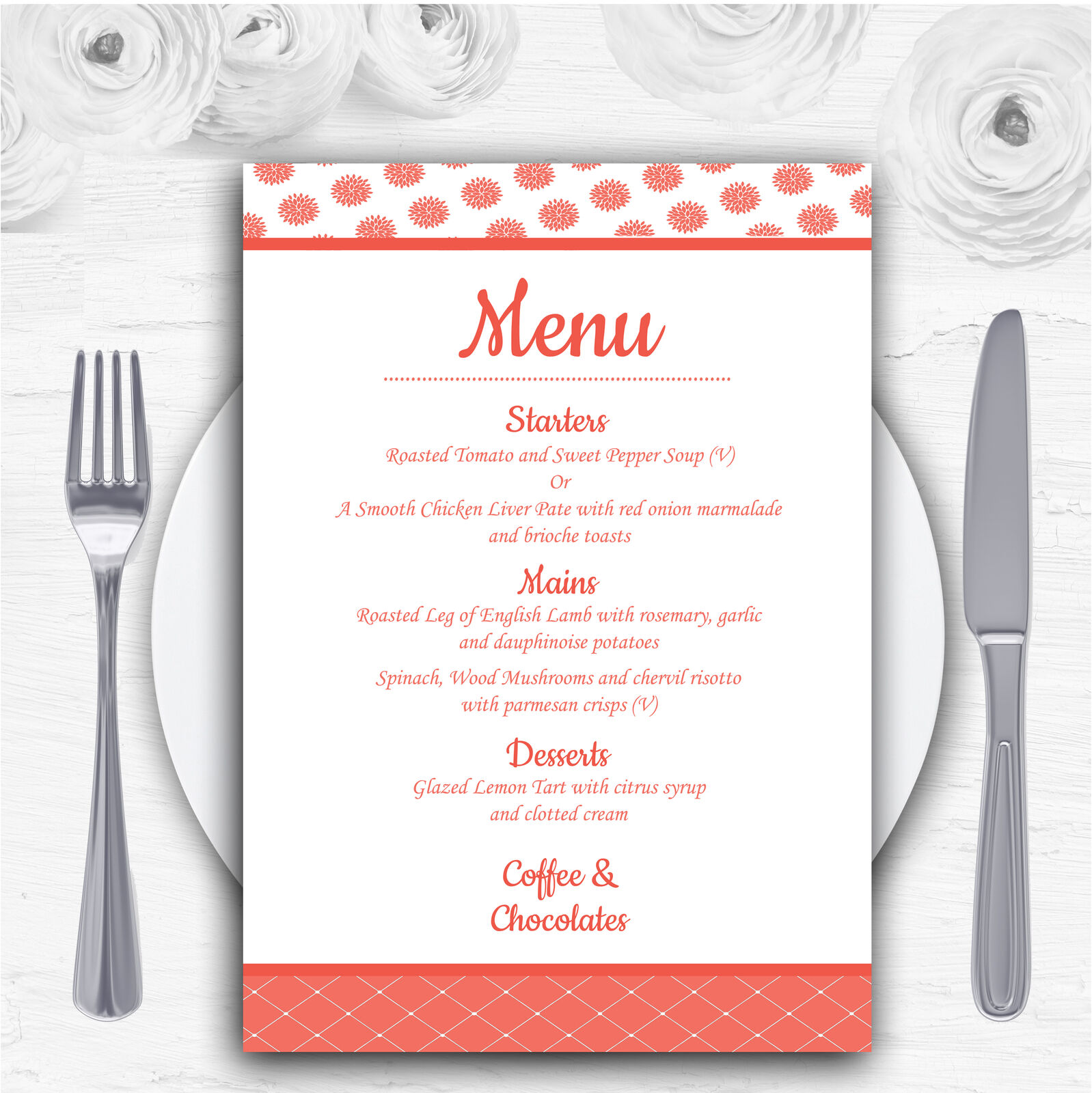 Coral And Weiß Flowers Quilt Personalised Wedding Menu Cards
