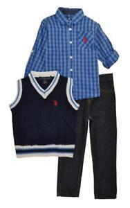 US Polo Assn Little Boys Plaid Blue Woven Shirt Size 2T 3T 4T 4 5//6 7