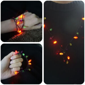 image is loading flashing christmas light bulb necklaces bracelets earrings led