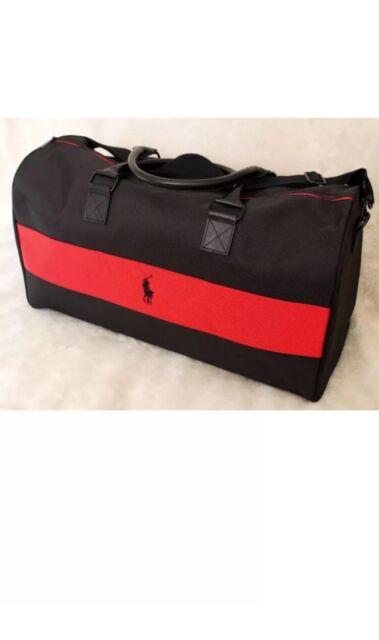RALPH LAUREN POLO DUFFLE Red Black Gym Travel BAG Overnight Weekender