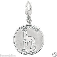 Sterling Silver Doberman Pinscher Lobster Claw Charm Pendant Dog Lovers