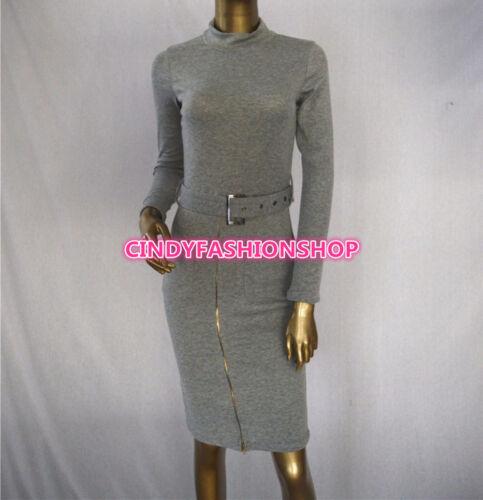 New Women Vintage  Long Sleeve Turtleneck Club Body con Evening Pencil Dress