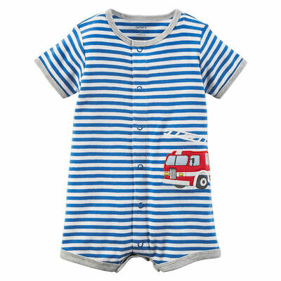 Carters Infant Boys Gray /& White Striped Button Up Firetruck Romper