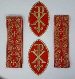 Vestment-Alba-Cruz-Banda-Px-Emblems-Lote-Oro-Cojos-Encendido-Brillante-Rojo-3-034