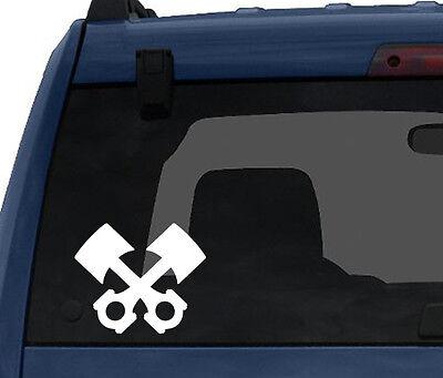 Car Tablet Vinyl Decal Engine Piston Silhouette Horsepower Torque Industry #7