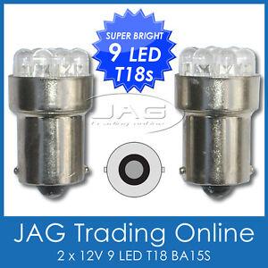 PAIR 12V 9-LED BA15S T18 WHITE GLOBES - Automotive Reverse/Indicator Light Bulbs