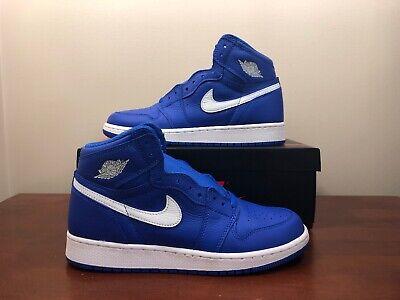 Nike Air Jordan 1 Retro GS HYPER ROYAL BLUE BRED BLACK TOE 575441-401 sz 7Y