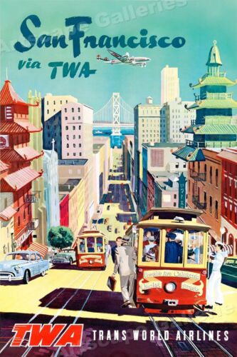 "1950s ""San Francisco via TWA"" Vintage Style Air Travel Poster 24x36"