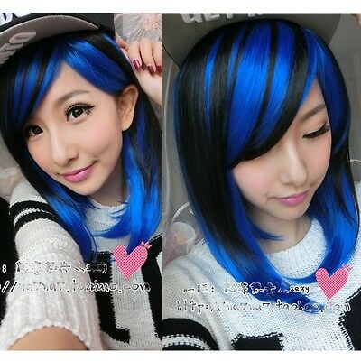 womens fashion long straight curly hair full wigs cosplay blue mix lolita wig