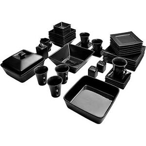 Image is loading Dinnerware-Set-Black-Square-Kitchen-Banquet-45-Piece-  sc 1 st  eBay & Dinnerware Set Black Square Kitchen Banquet 45 Piece Dinner Plates ...