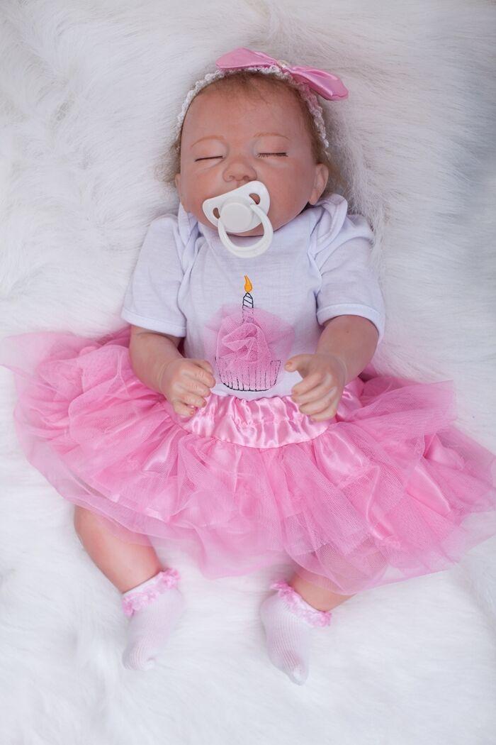 Hecho a mano 18  Muñeca Muñeca Muñeca Reborn Bebé niña de silicona recién nacido pelo de enraizamiento nos cerrados ojos  ¡no ser extrañado!