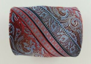 Pronto-Uomo-Mens-Tie-Red-Blue-Striped-Paisley-Silk-Neck-Tie-W3-5-039-039-L58-039-039