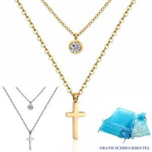 Doppel-Kreuz-Anhaenger-Rund-Halskette-Edelstahl-Silber-Gelbgold-Zirkonia-Damen