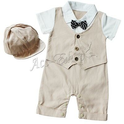 2pc Baby Boy Infant Toddler Gentleman Hat+Bodysuit Romper Formal Outfit Clothes