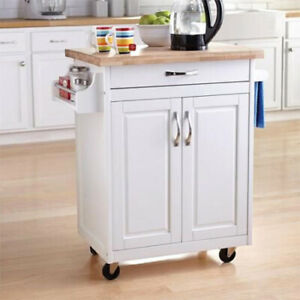 Details About Kitchen Cart On Wheels Island White Solid Wood Top Utility Cabinet E Rack