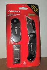 HUSKY FOLDING LOCK BACK UTILITY KNIFE & BONUS KNIFE  #108011 WITH 10 BLADES