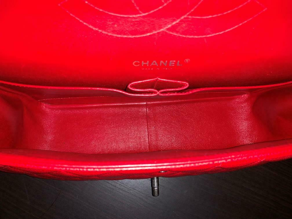 Authentic Chanel Classic Jumbo Red Caviar Double … - image 10