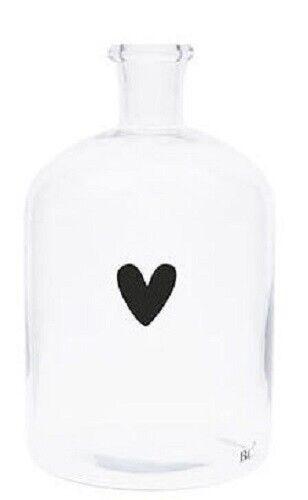 Bastion Collections  Glasflasche Kerzenhalter Glasvase Black Heart