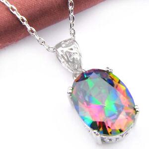 Rectangle-Style-Fashion-Jewelry-rainbow-Mystical-Topaz-Silver-Neclace-Pendants