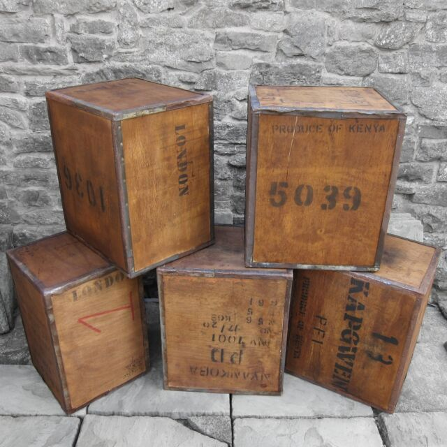 Tea Chest Box Storage Bedside Table Wood Rustic Vintage - Custom Order Global
