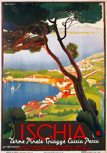 TV97-Vintage-1940-039-s-ISCHIA-Island-Italian-Italy-Travel-Tourism-Poster-A2-A3